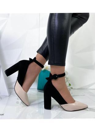 Туфли женские на устойчивом каблуке   код: 13326
