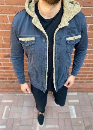 Пиджак джинсовый [на овчине]