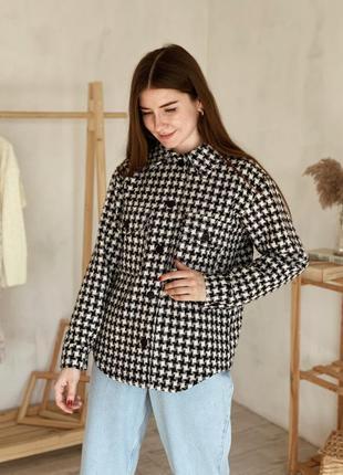 Куртка-рубашка на пуговицах с принтом в гусиную лапку