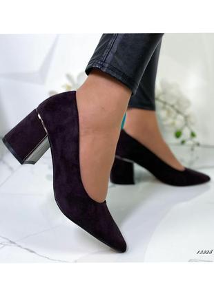 Туфли женские на устойчивом каблуке   код: 13328