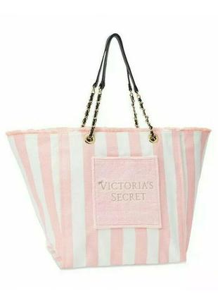 Пляжная сумка  шоппер victoria's secret signature pink striped beach tote