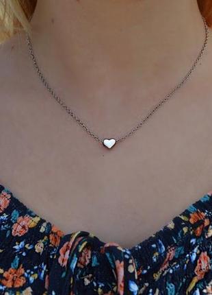 Нежная подвеска «сердце серебро»
