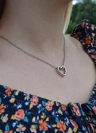 Подвеска «пустое сердце серебро»