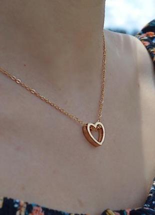 Подвеска «пустое сердце золото»