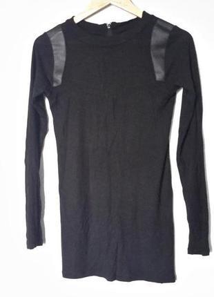 Короткое платье-туника с вставками из эко кожи