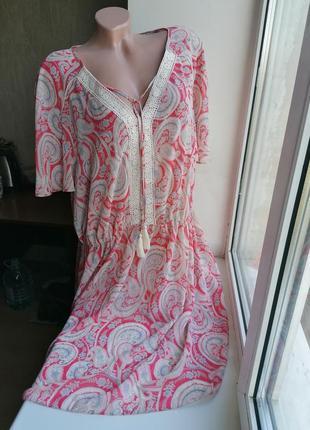 Новое полупрозрачное пляжное платье принт рисунок батал большой размер george  к090