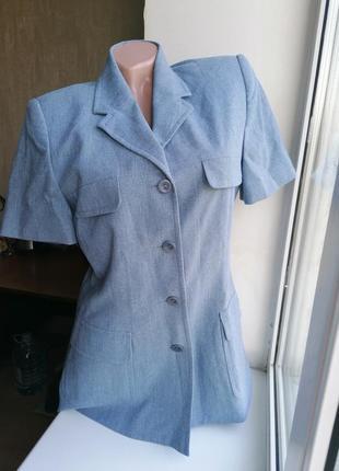 Винтаж: синий жакет\пиджак с карманами дорогой бренд caroll париж, франция к090