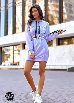 Платье-худи с поясом