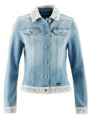 Джинсовая куртка джинсовка пиджак с вышивкой кружево премиум bpc selection (bonprix),р.16