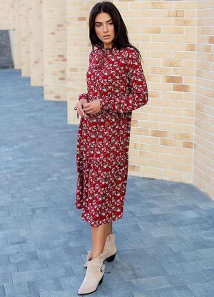 Сукня-міді вільного силуету в дрібний квітковий принт 3090