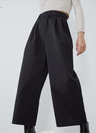 Чёрные широкие брюки zara