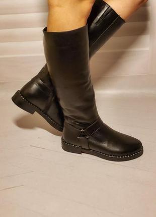 Сапоги женские кожаные осень/зима