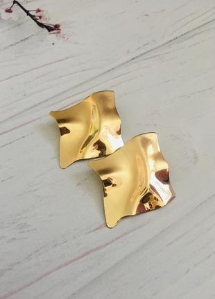 Серьги золотые пластины