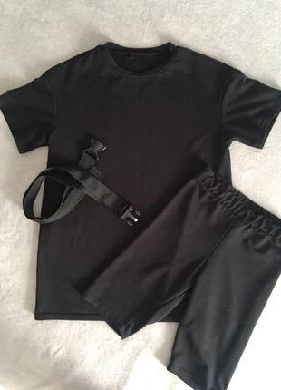 Тренд сезона костюи футболка оверсайз и велосипедки