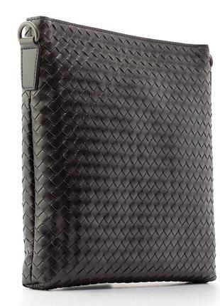Сумка через плечо, планшетка кожаная плетенка черная