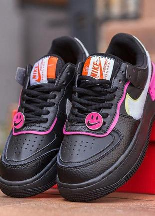 """Женские кроссовки """"nike air force 1 shadow removable patches black"""""""