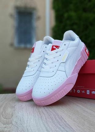 Женские кроссовки puma cali (белые с розовым)