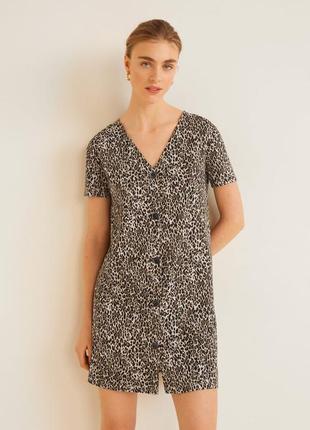 Платье леопардовое с пуговицами текстурное вязанное mango