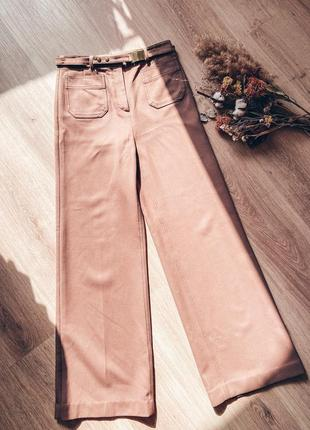 Бежевые брюки, брюки клёш, коричневые брюки