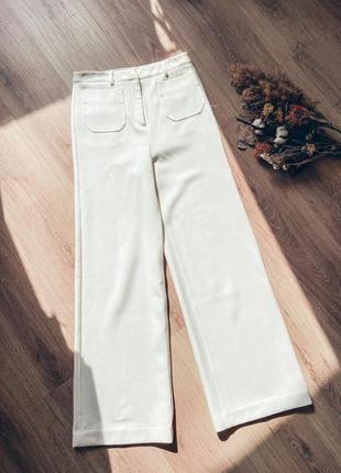 Белые брюки h&m, белые брюки клёш