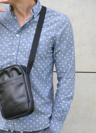 Чоловіча сумка месенджер через плече з екошкіри шкіряний мессенджер кожа