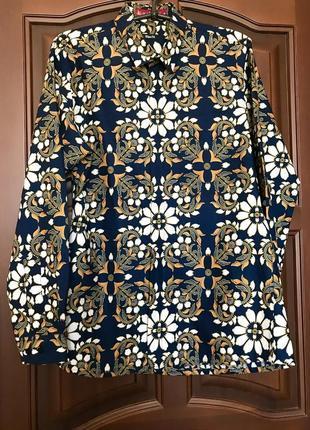 Рубашка slim fit цветочный принт на невысокий рост хлопок приталенная мужская