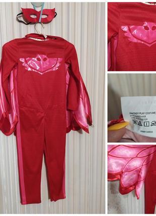Карнавальеый костюм алетт герои в масках девочка сова красный