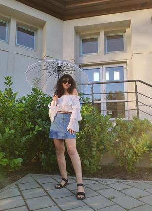 Прозора парасоля парасолька чорна і біла тростина антивітер напівавтомат трость зонт