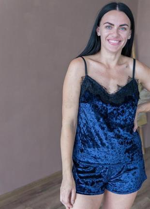 Синя піжама майка і шорти
