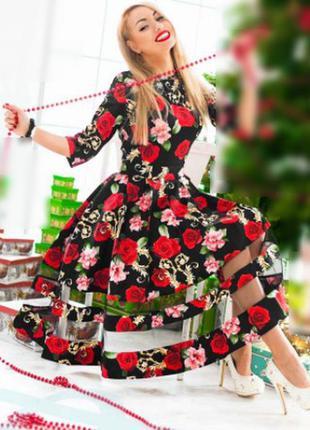 Романтичное платье c цветочным принтом