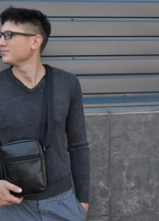 Зручна чоловіча сумка через плече мессенджер з екошкіри месенджер экокожа