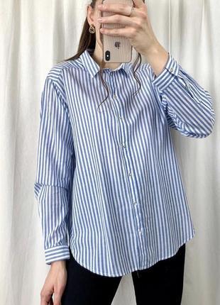 Натуральная рубашка в полоску натуральна сорочка в смужку оверсайз h&m m/l