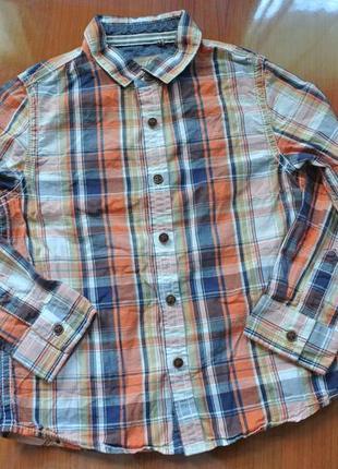 Стильная рубаха в клетку 3-4 года