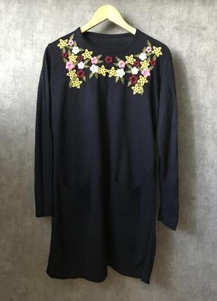 Платье туника темно-синее вышивка
