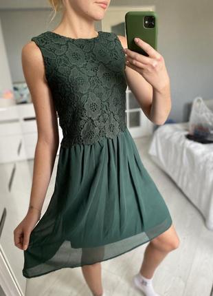 Зеленое платье изумруд
