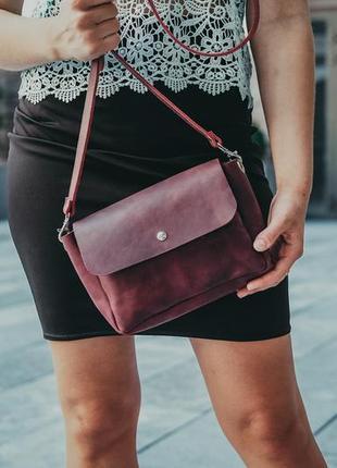 Кожаная женская сумка, жіноча сумка, кросс-боди, повседневная сумочка, цвет бордо марсала