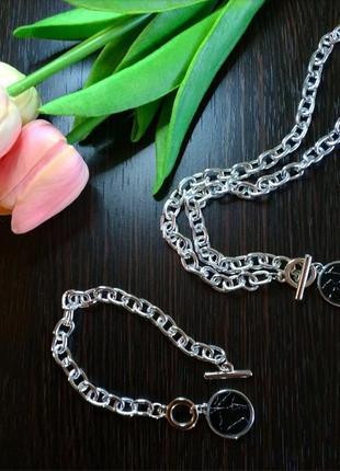 Наборчик цепочка  браслетик чокер ожерелье на шею