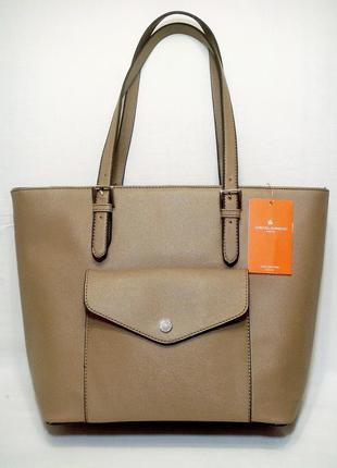 """Новая, с биркой, стильная бежевая сумка-шоппер """"под сафьян"""", французский бренд david jones"""