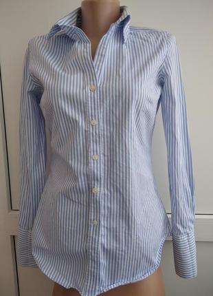 Рубашка белая голубая в полосочку