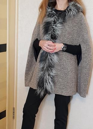 Роскошное шерстяное пальто кейп пончо с капюшоном, италия
