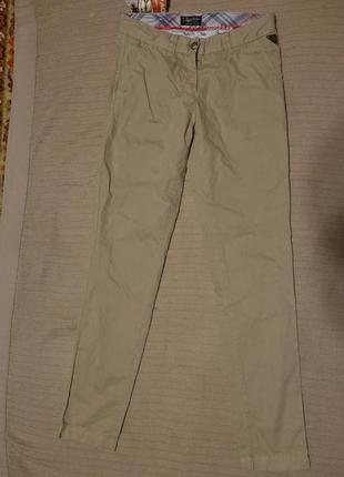 Плотные мягкие бежевые х/б брюки replay blue jeans италия 25 р.