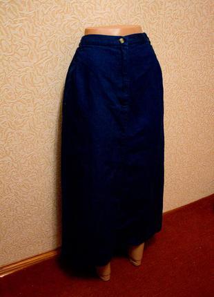 Синяя джинсовая юбка большой размер