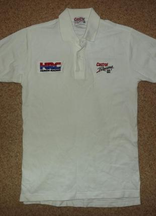Винтажная футболка поло  castrol honda racing