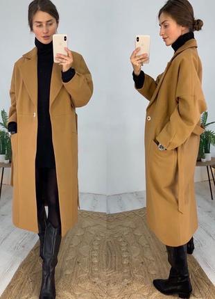 Актуальное кашемировое пальто оверсайз на запах