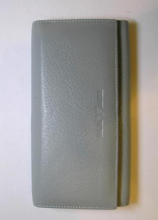 Большой кожаный кошелек grey, 100% натуральная мягкая кожа, уценка