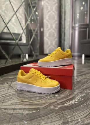 Nike air force 1 low 🔺женские кроссовки найк белые с желтым 🔺36-41
