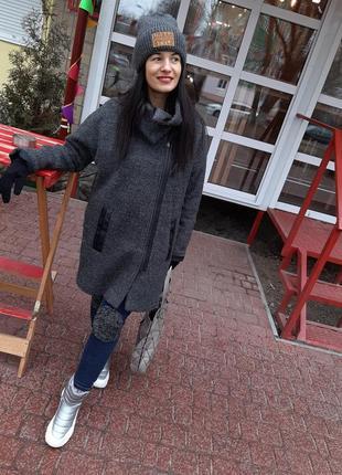 Брендовое стильное пальто серое базовое оверсайз