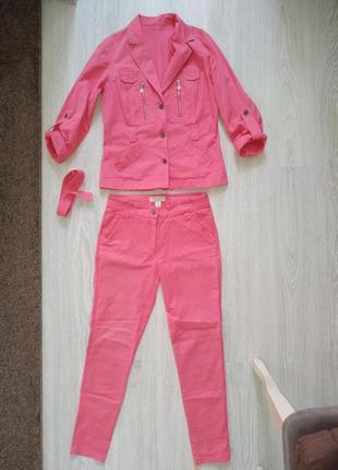 Котоновый брючный костюм комплект хлопок пиджак брюки