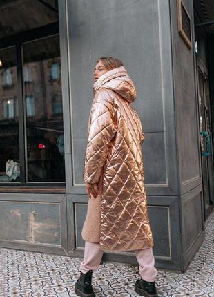 Зимнее шерстяное пальто-пуховик