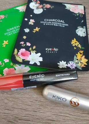 Набор тинт для губ eyenlip + помада kiko + 2 тканевые маски eyenlip